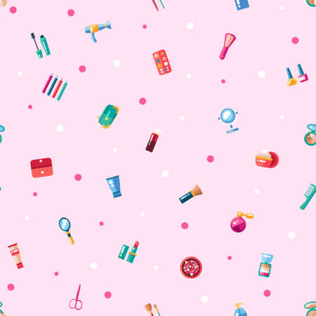 Pattern of flat design cosmetics, make up icons and elements