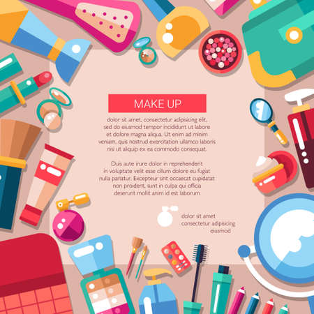 Postcard template of flat design cosmetics, make up icons and elements Illustration