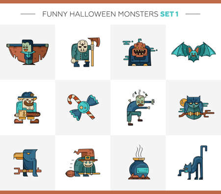 hand with card: Set of  Halloween line flat design modern icons and characters. Funny scary personages Illustration