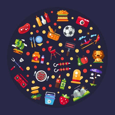 de zomer: Illustratie van vector platte ontwerp barbecue en de zomer picknick pictogrammen en infographics elementen Stock Illustratie