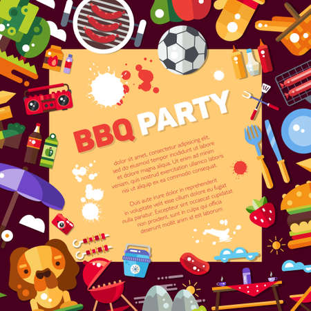 Invitation template of vector flat design barbecue and summer picnic icons and infographics elements Illustration