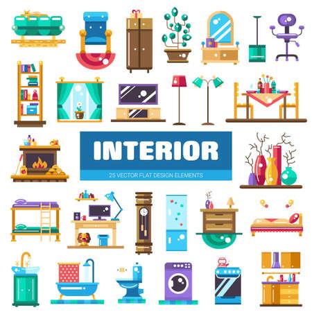 cocina caricatura: Conjunto de vector modernos iconos y elementos de dise�o de interiores plana. Mobiliario dom�stico