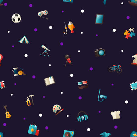 hobbies: Pattern of vector modern flat design hobby icons and infographics elements