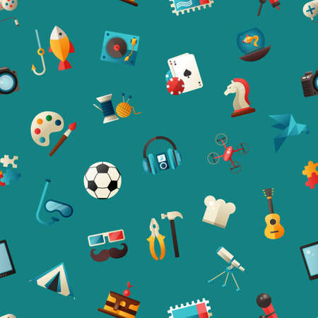 Pattern of vector modern flat design hobby icons and infographics elements