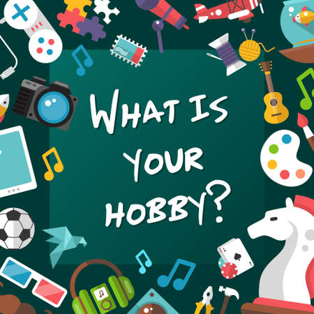 hobbies: Poster template of modern flat design hobby icons and infographics elements