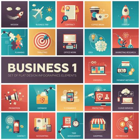 negocios internacionales: Conjunto de moderno diseño plano infografía vector de negocio iconos