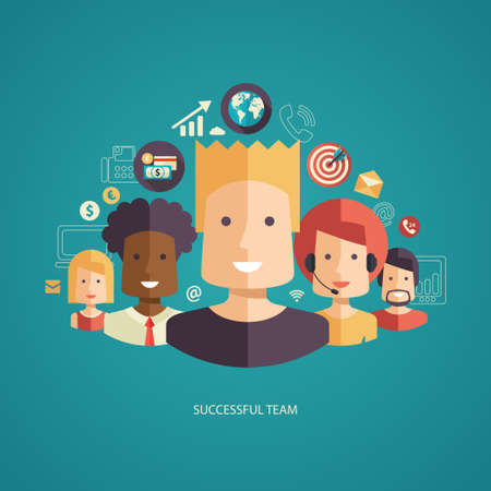 group  join: Illustration of vector flat design business composition with successful team