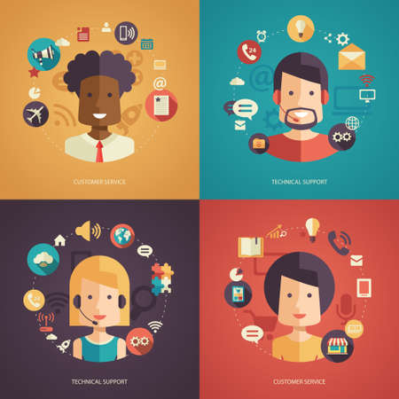 people: Illustration of vector flat design business composition with technical support