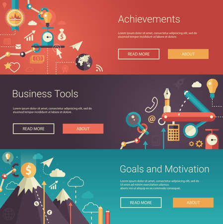 Set of modern vector flat design business banners, headers with icons and infographics elements. Achievements, business tools, goals and motivation Vettoriali