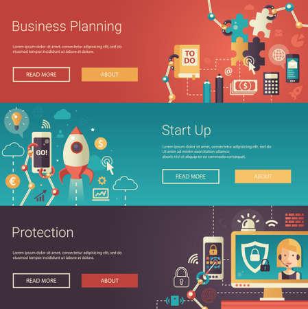 cohetes: Conjunto de vector moderna pancartas de negocio diseño plano, encabezados con iconos y elementos del infographics. Planificación, puesta en marcha y la protección