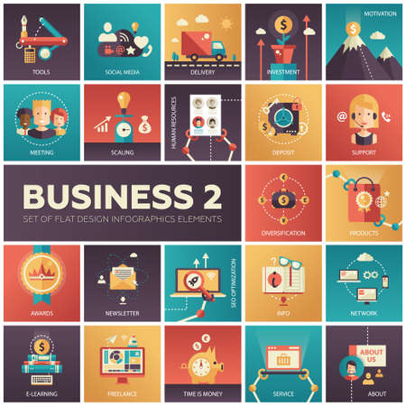 business support: Set of modern flat design business vector infographics icons