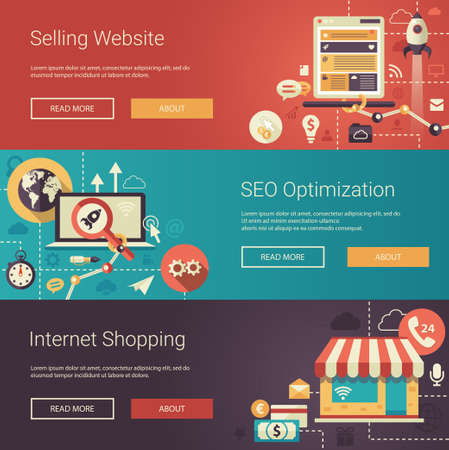 information: Set of modern vector flat design business headers with icons and infographics elements. Conceptual banners of selling website, SEO optimization and internet shopping