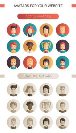 inactive: Set of vector isolated flat design people icon avatars for social network and your design. Active and inactive versions Illustration