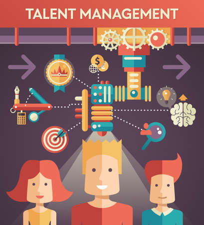 talent management: Conceptual flat design vector illustration of business talent management with people, icons and infographics elements Illustration