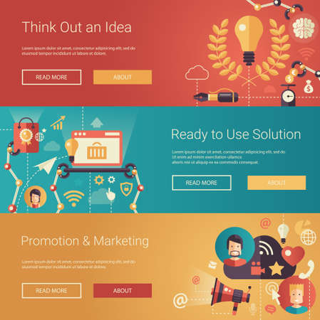 social commerce: Set of modern flat design business headers with icons and infographics elements. Conceptual banners of idea, solutions, promotion and marketing