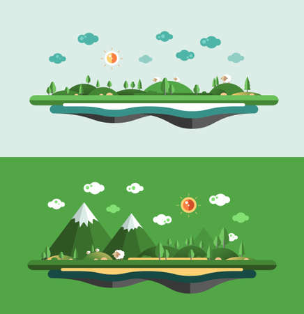 Modern vector flat design conceptual landscape illustration. Stock Photo