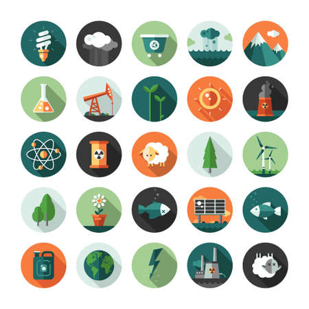 Modern vector flat design conceptual ecological iconsand infographics elements Stock Illustratie