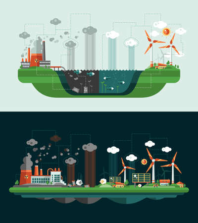 wasted: Set of modern vector flat design conceptual ecological illustrations with icons and infographics elements. Wasted and green landscapes.