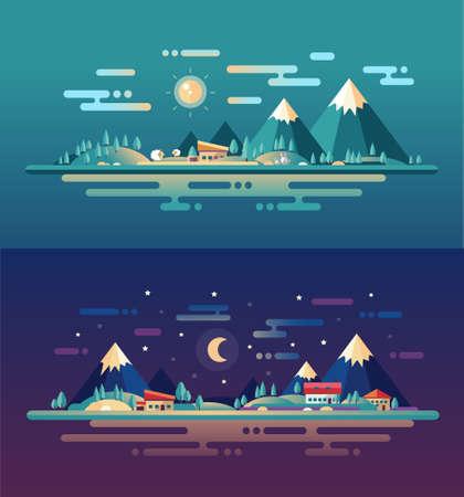 medio ambiente: Conjunto de vector de dise�o moderno plana paisajes conceptuales con animales, casas y las monta�as. Ilustraciones de escenas de bosques hermosos.