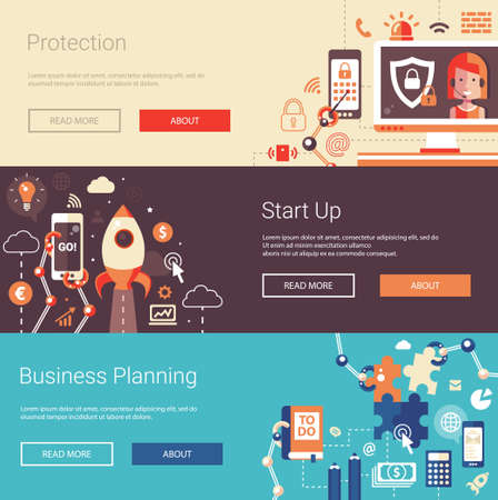 Set of modern vector flat design business banners, headers with icons and infographics elements. Planning, start up and protection