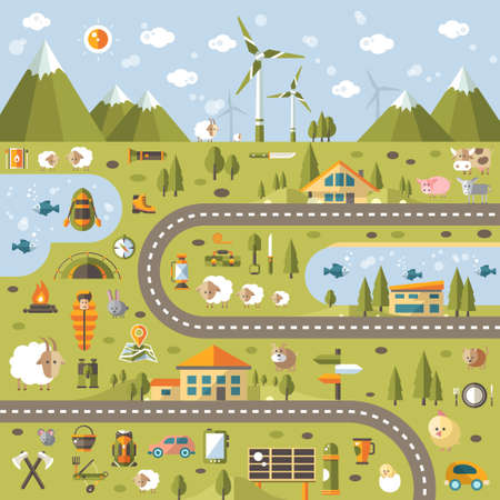 travelling: Modern vector flat design conceptual landscape illustration with info graphic elements