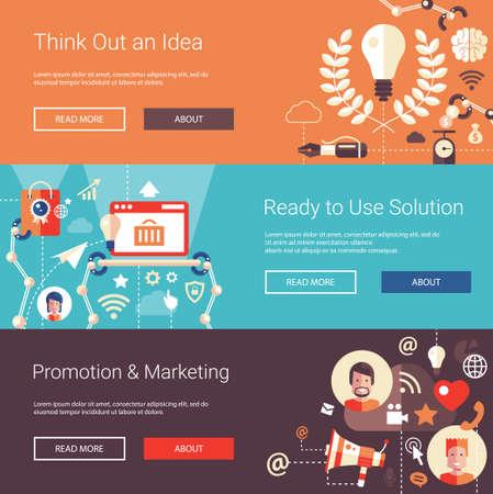 Jeu de plates-têtes conception d'affaires moderne avec des icônes et des infographies éléments. Bannières conceptuels de idée, solutions, promotion et commercialisation