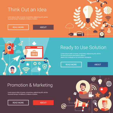 business service: Set of modern flat design business headers with icons and infographics elements. Conceptual banners of idea, solutions, promotion and marketing
