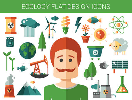 green eco: Modern vector flat design conceptual ecological iconsand infographics elements Illustration