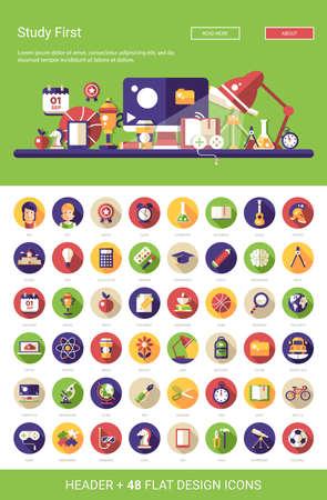 Cabecera con el vector moderna escuela de diseño plano, iconos universitarios y infografías elementos fijado para su sitio web la ilustración