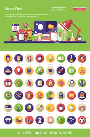 colegios: Cabecera con el vector moderna escuela de diseño plano, iconos universitarios y infografías elementos fijado para su sitio web la ilustración