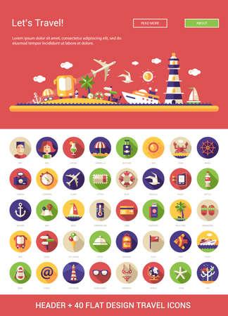 turismo: Cabecera con el vector moderna viajes diseño plano, vacaciones, turismo iconos e infografías elementos establecidos para su sitio web la ilustración Vectores