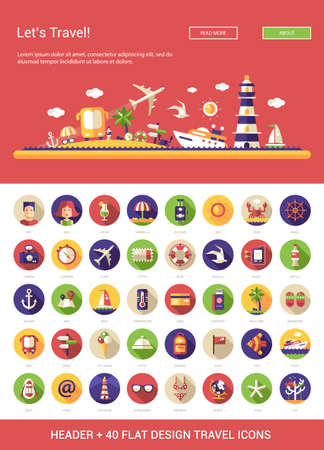 tourism: Header with vector modern flat design travel, vacation, tourism icons and infographics elements set for your website illustration