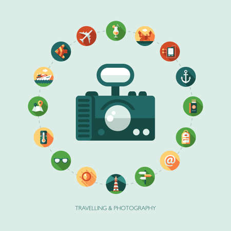 tourist information: Set of vector modern flat design travel, vacation, tourism icons and infographics elements