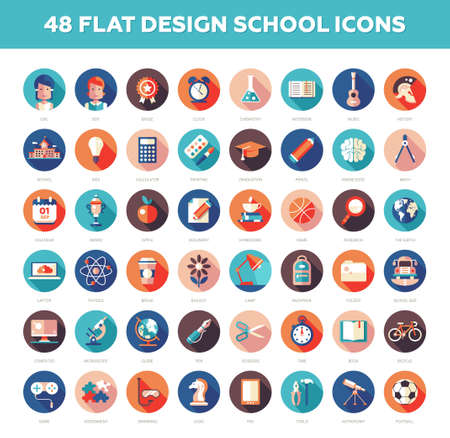Set of vector modern flat design school, college icons and infographics elements