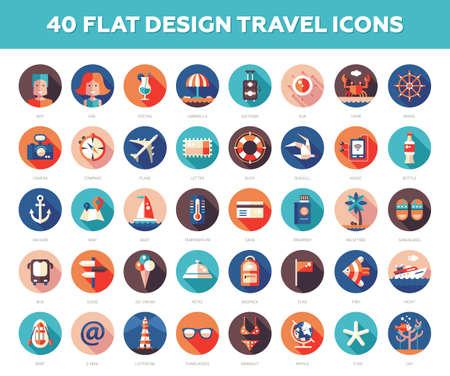 Conjunto de vector moderna viajes diseño plano, vacaciones, iconos turísticos y infografías elementos Ilustración de vector