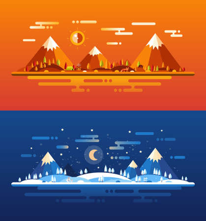 snow scape: Set of modern vector flat design conceptual landscapes with animals and other elements. Illustrations of beautiful autumn and winter forest scenes. Illustration