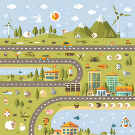 ecosystems: Modern vector flat design conceptual landscape illustration with info graphic elements