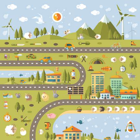 ecosistema: Vector moderno diseño plano conceptual ilustración paisaje con info elementos gráficos Vectores