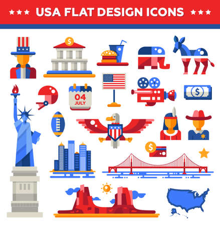 grand: Set of vector flat design USA travel icons and infographics elements with landmarks and famous American symbols