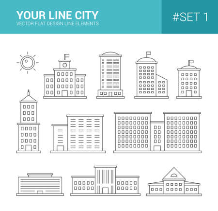 administrative buildings: Set of vector line flat design buildings icons. Skyscrapers, goverment and administrative buildings
