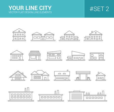 headquarter: Set of vector line flat design buildings icons