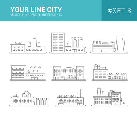 line: Set of vector line flat design buildings icons. Factories and industial buildings