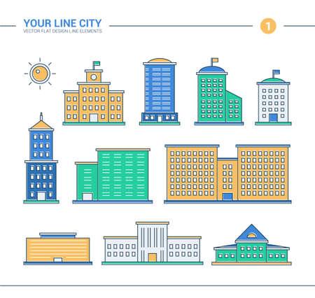 edificio: Conjunto de vector de diseño de línea plana edificios iconos. Rascacielos, edificios gubernamentales y administrativos