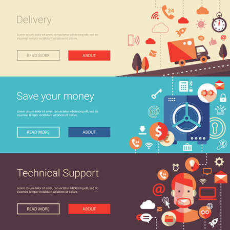 safe money: Set of vector modern flat design business banners, headers with icons and infographics elements. Delivery, technical support and save your money.
