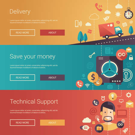 web commerce: Set of vector modern flat design business banners, headers with icons and infographics elements. Delivery, technical support and save your money.