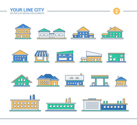 headquarters: Set of vector line flat design buildings icons
