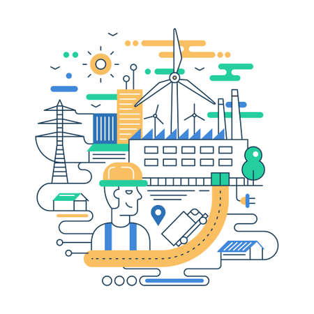 Illustration of vector modern line flat design city composition with people, factory buildings and alternative energy infographics elements Иллюстрация