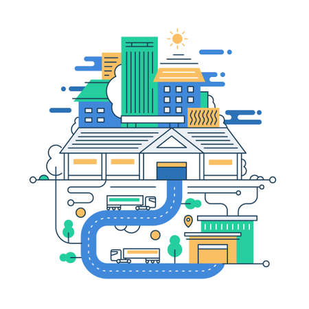 facility: Illustration of vector modern line flat design city composition with city buildings and cityscape infographics elements Illustration