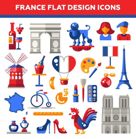 notre: Set of vector flat design France travel icons and infographics elements with landmarks and famous French symbols