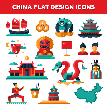 Set of vector flat design China travel icons and infographics elements with landmarks and famous Chinese symbols Vectores